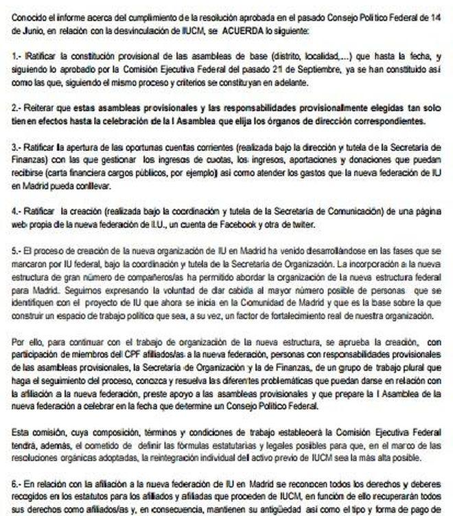 Pincha aquí en PDF para ver la resolución aprobada sobre la nueva federación madrileña de IU.