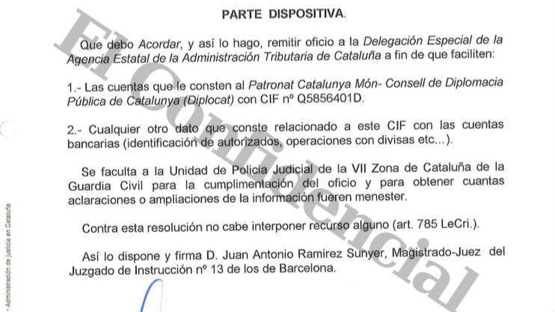Auto del juez de Instrucción 13 de Barcelona.