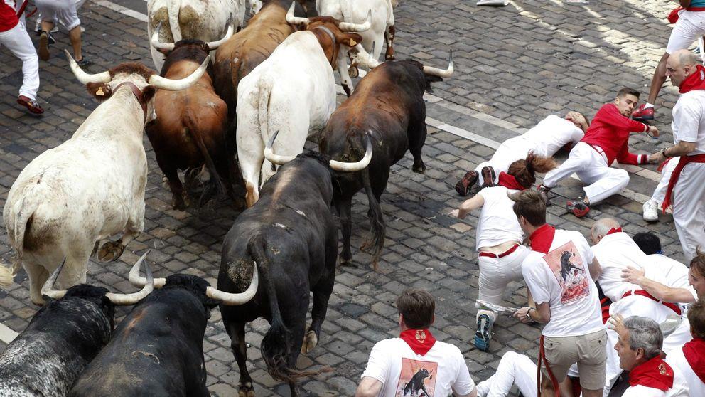 Segundo encierro de San Fermín: los Cebada Gago, veloces y con un herido por asta