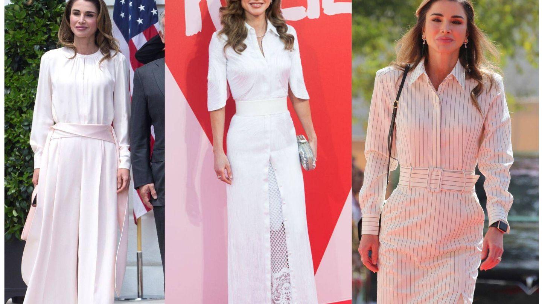 Rania y sus looks blancos. (EFE/Getty)