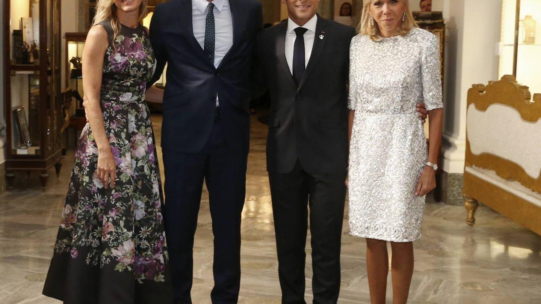 Begoña Gómez, Pedro Sánchez, Emmanuel Macron y Brigitte Macron.  (Redes sociales de Pedro Sánchez)
