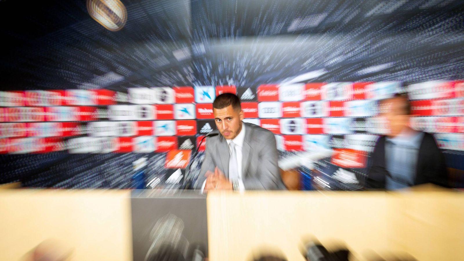 Foto: Hazard, durante su presentación como nuevo jugador del Real Madrid. (EFE)