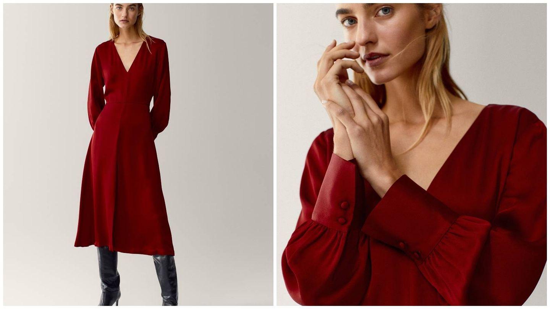 Vestido rojo de Massimo Dutti. (Cortesía)