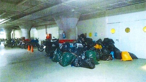 Foto: Basura acumulada en una de las comisarías de la Ertzaintza en Guipúzcoa. (SIPE)