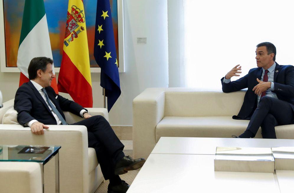 Foto: Pedro Sánchez y el primer ministro italiano, Giuseppe Conte, este 8 de julio en la Moncloa. (EFE)