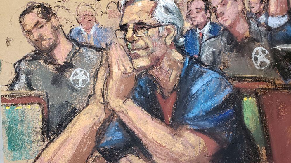 Foto: Un dibujo del magante Jeffrey Epstein. (Reuters)