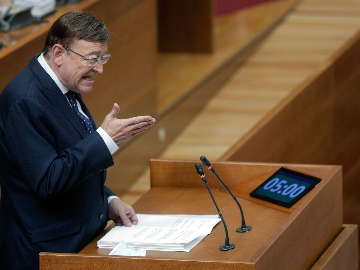 Foto: Ximo Puig, en el debate de política general en las Cortes Valencianas.