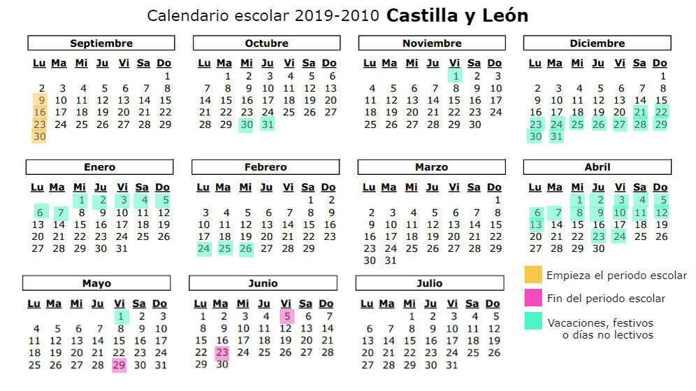 Calendario Escolar Andalucia 2020.Calendario Escolar 2019 2020 Para Castilla Y Leon Vacaciones