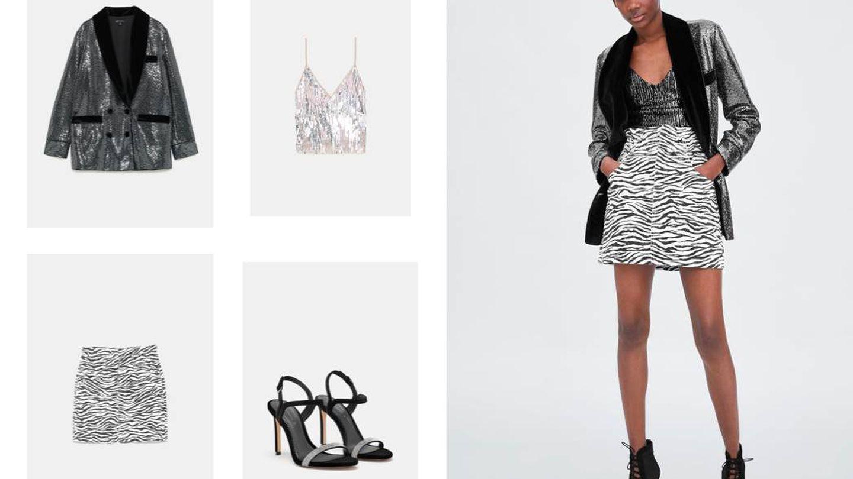 Blazer metalizada (49,95 €), top con lentejuelas (19,95 €), minifalda print (22,95 €) y sandalias de terciopelo (39,95 €), de Zara.