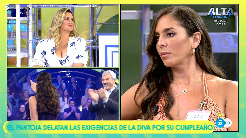 Anabel Pantoja y Carlota Corredera, en 'Sálvame'. (Telecinco)