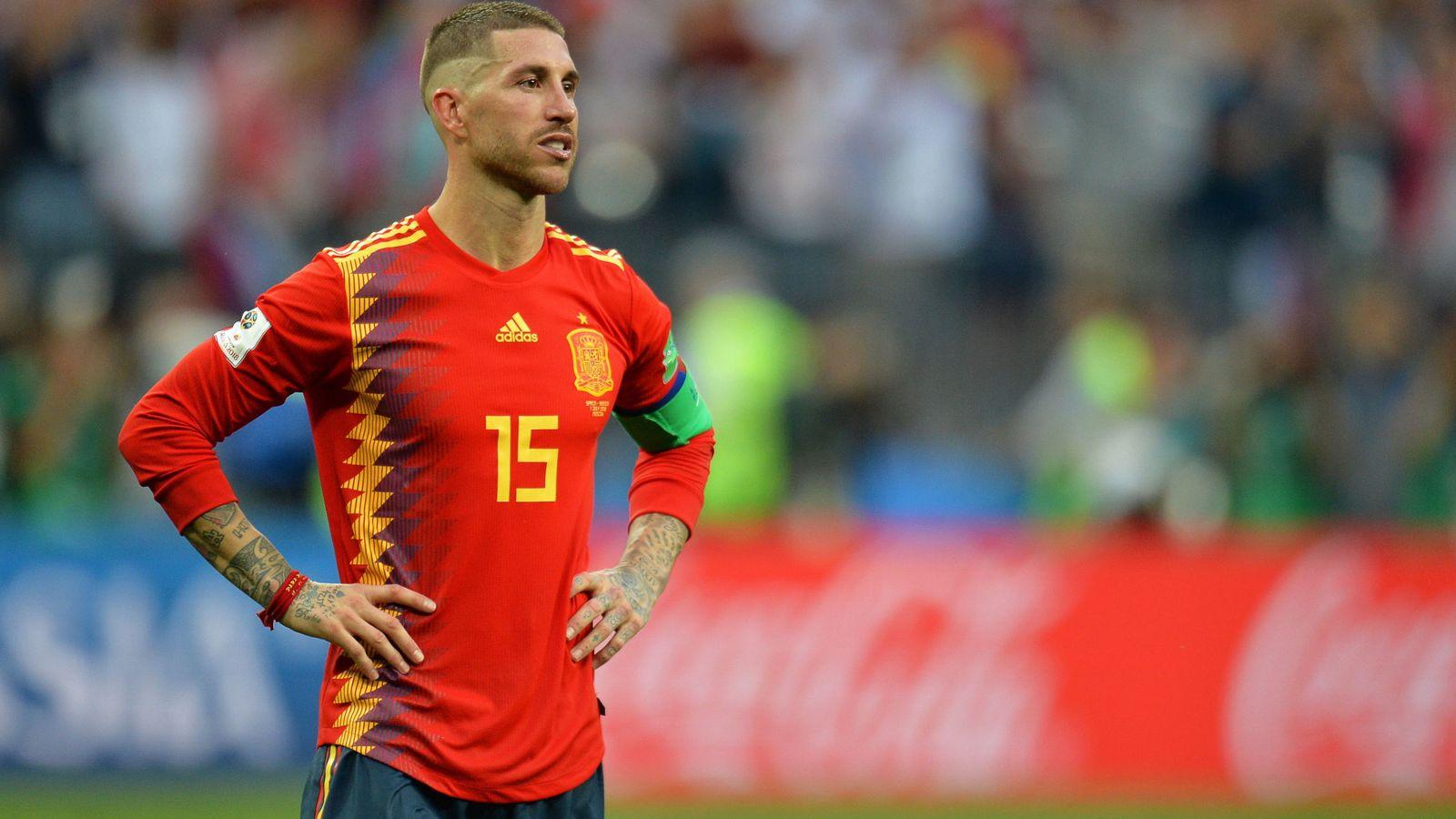 Foto: Sergio Ramos durante el partido ante Rusia.