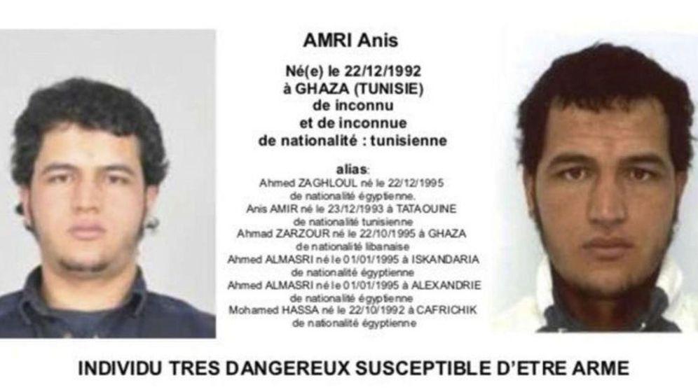 Foto: Ficha divulgada por el Ministerio de interior francés del supuesto autor del ataque fallecido, Anis Amri. (EFE)