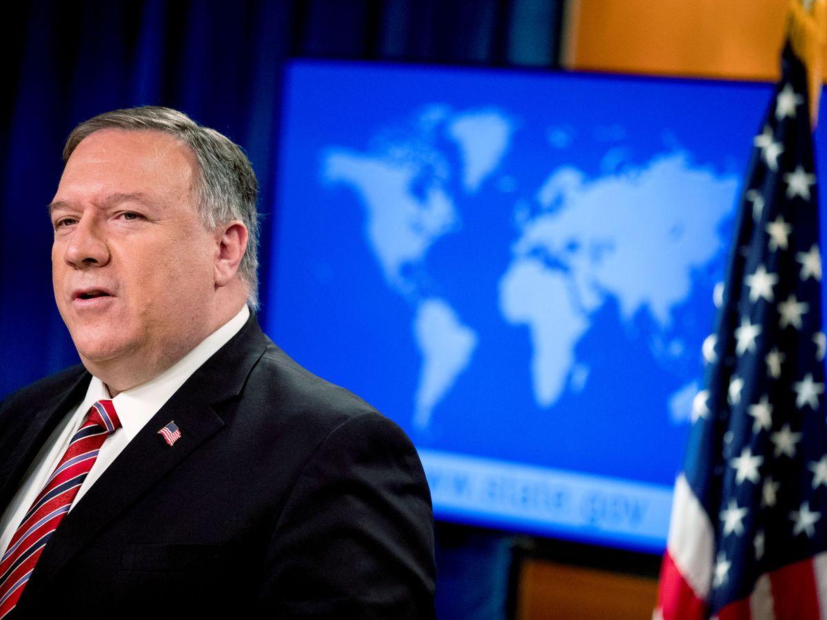 Foto: Mike Pompeo, en una rueda de prensa del Departamento de Estado en Washington, en abril. (Reuters)