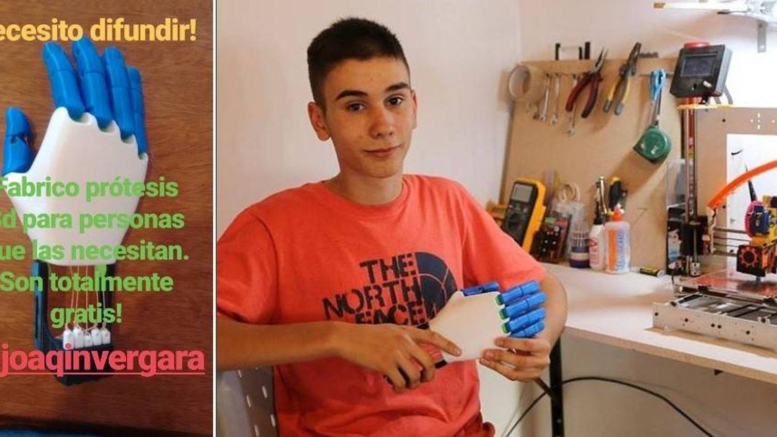 Foto: El joven argentino fabrica prótesis de mano con su impresora 3D para donarlas a quien las necesite (@joaqinvegara)