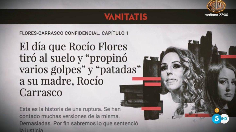 La mención a Vanitatis antes de la entrevista. (Mediaset)