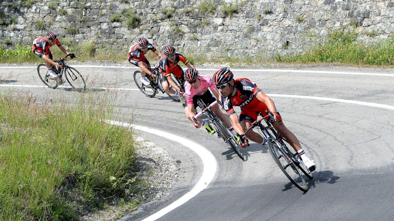 Samuel Sánchez y Cadel Evans durante una etapa del Giro (Imago).