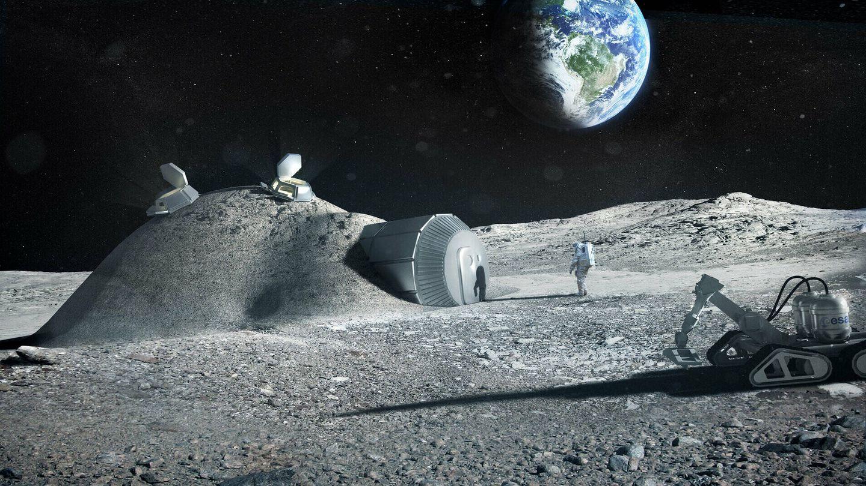Esta técnica serviría para construir también una base en la luna. (ESA)