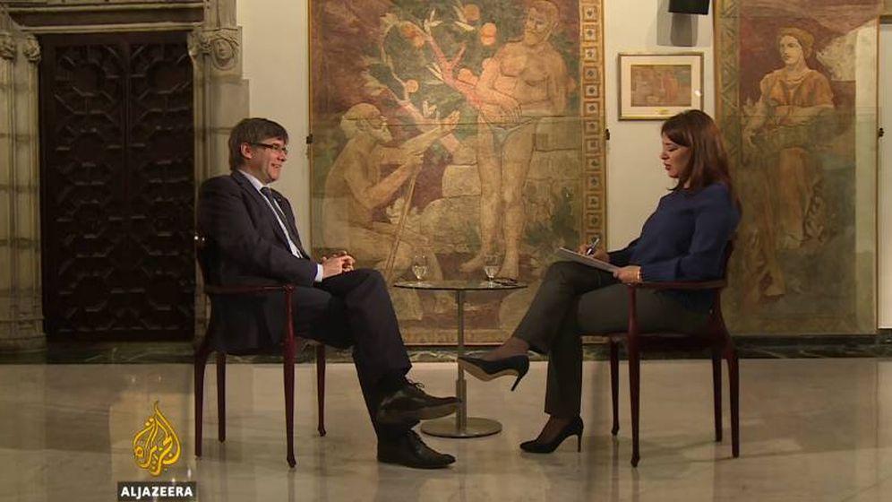 Foto: El presidente de Cataluña, Carles Puigdemont, durante la entrevista en Al Jazeera. (YouTube)