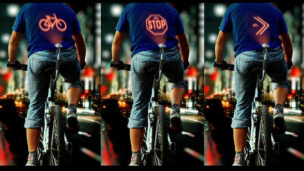 Foto: Este 'gadget' proyecta las maniobras de los ciclistas en su espalda