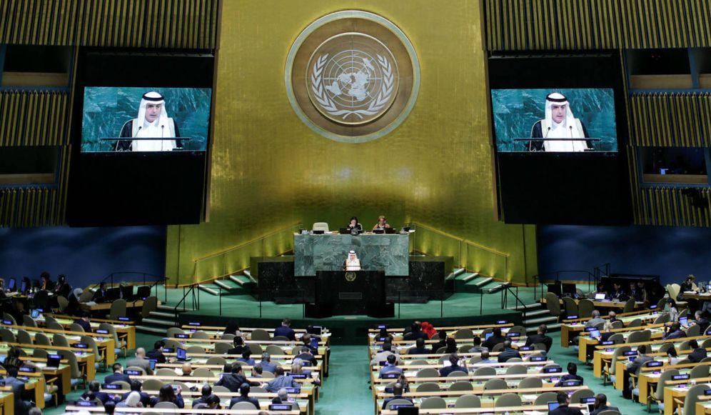 Foto: El ministro de Exteriores saudí Ahmed Al Jubeir se dirige a la Asamblea Nacional de la ONU, el 23 de septiembre de 2017. (Reuters)