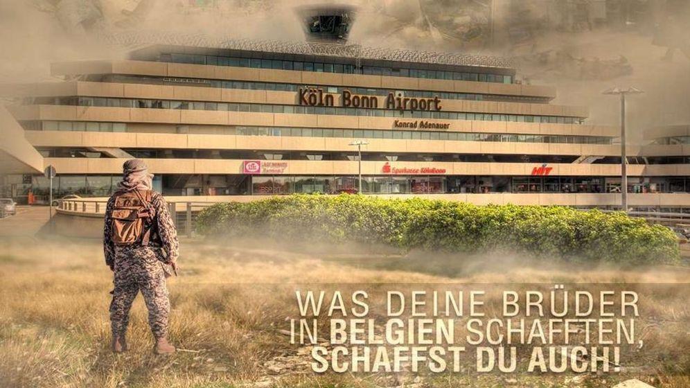 Foto: Imagen difundida por el Estado Islámico en la que aparece el aeropuerto de Colonia-Bonn