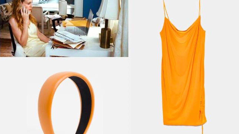 Vestido de Zara y diadema de Pieces.