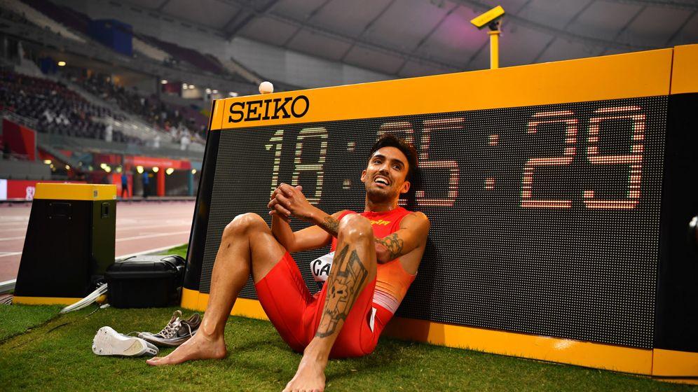 Foto: Fernando Carro, tras la final de los 3.000 obstáculos. (EFE)