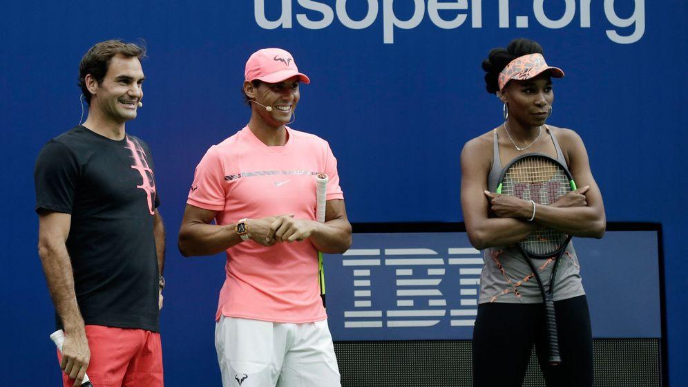 Foto: Federer, Nadal y Venus Williams, en un acto promocional del US Open. (Reuters)
