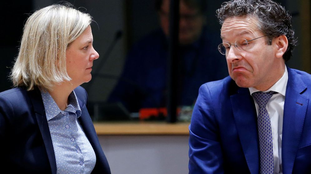 Foto: El presidente del Eurogrupo, junto a la ministra de Finanzas de Suecia. (EFE)
