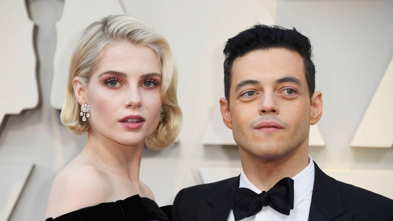 Lucy Boynton y Rami Malek en los Oscar. (Getty)