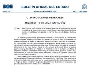 El Gobierno subvenciona el Basque Culinary Center a mayor gloria de Bildu
