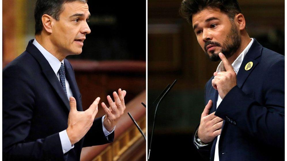 Foto: Pedro Sánchez y Gabriel Rufián, en el Congreso. (EFE)