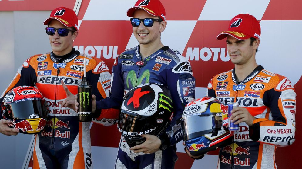 Foto: Márquez, Lorenzo y Pedrosa, en un gran premio de Valencia. (Reuters)