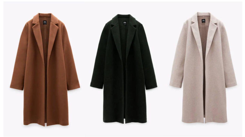 El abrigo de Zara en sus tres colores. (Cortesía)