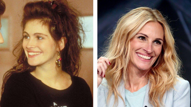 Julia Roberts en 1989 y en 2019. (Fotograma de Mystic Pizza / Getty)