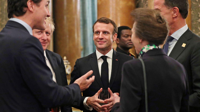 La princesa Ana, durante la polémica conversación de los presidentes de Canadá, Reino Unido y Francia. (Reuters)