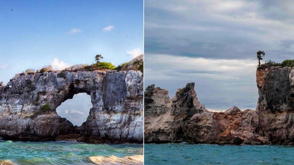 Foto: Punta Ventana, antes y después de los terremotos que han asolado Puerto Rico. (Reuters)