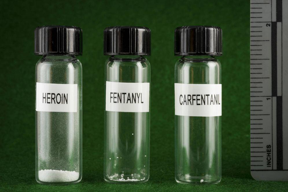 Foto: Cantidad mínima para matar a una persona con heroína, fentanilo y carfentanilo (Policía de Nueva Hampshire)