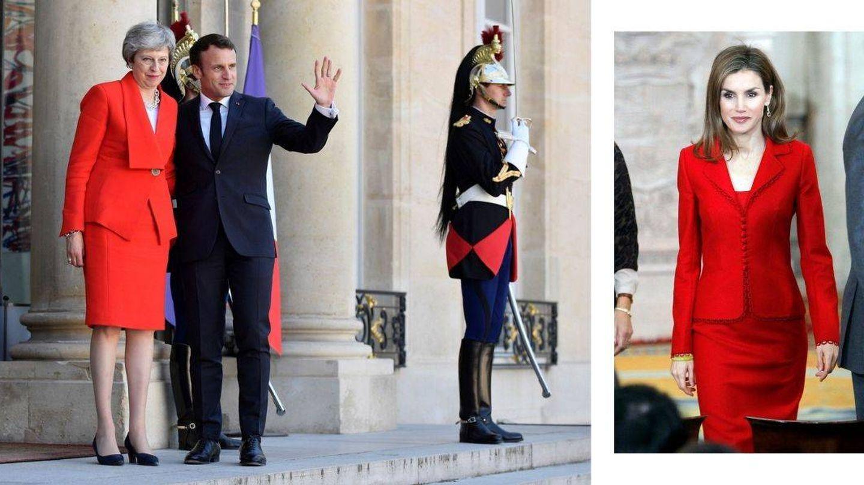May con Macron en el Elíseo (Reuters) y la reina Letizia en 2014. (Cordon Press)