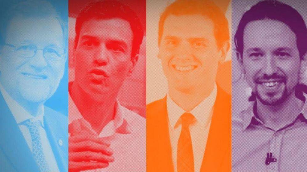 Foto: Los cuatro líderes políticos españoles.