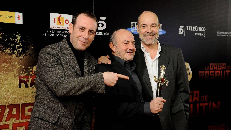Molero, junto a Jesús Bonilla y Antonio Resines. (Getty)