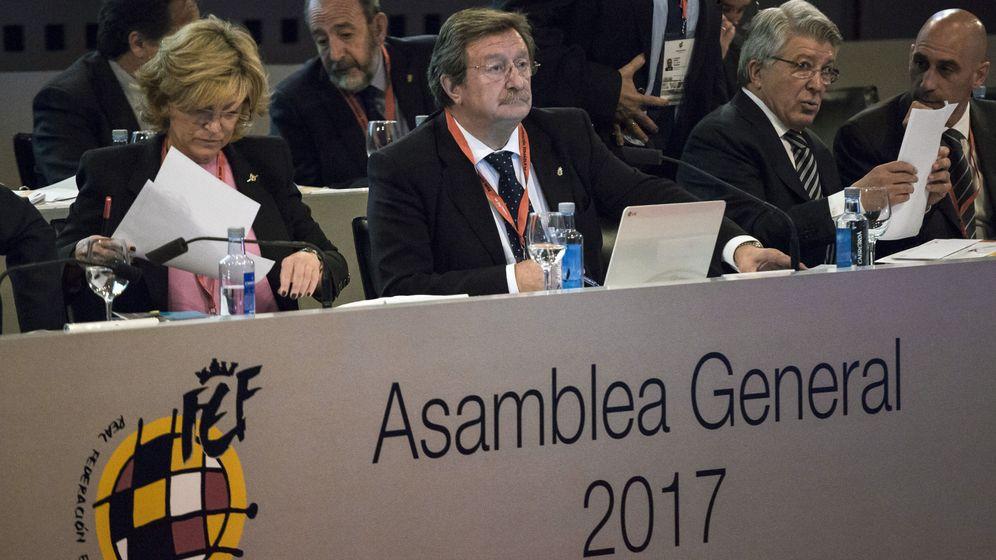 Foto: Juan Luis Larrea, en la última Asamblea de la RFEF. (EFE)