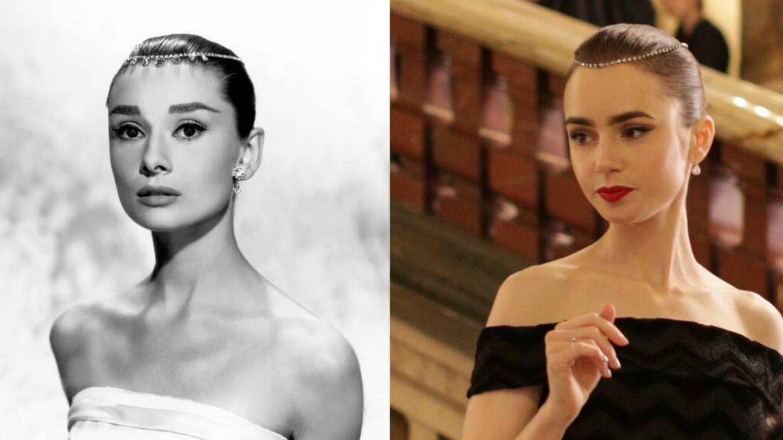 Lily Collins siempre ha inspirado sus looks en la estética de Audrey. En la imagen, un fotograma de 'Una cara con ángel' frente a un fotograma de 'Emily in Paris'.