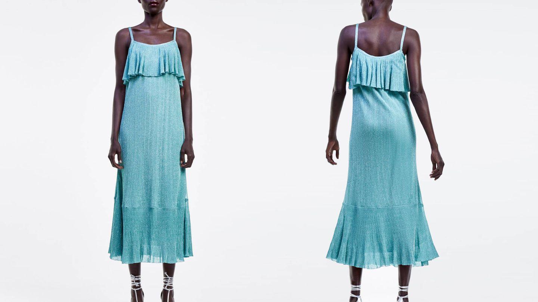 Vestido de hilo metalizado de Zara. (Cortesía)