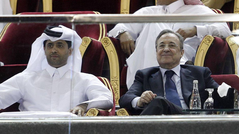 Nasser Al-Khelaïfi y Florentino Pérez, presidentes de PSG y Real Madrid, respectivamente. (EFE)
