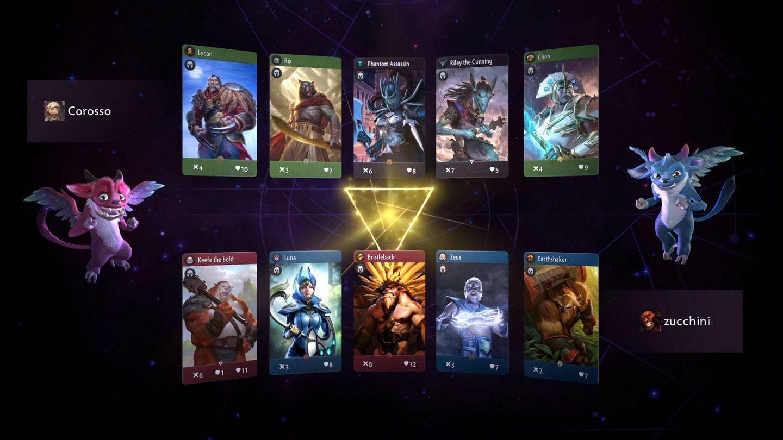Cada jugador escoge cinco héroes para disputar las partidas (Artifact)