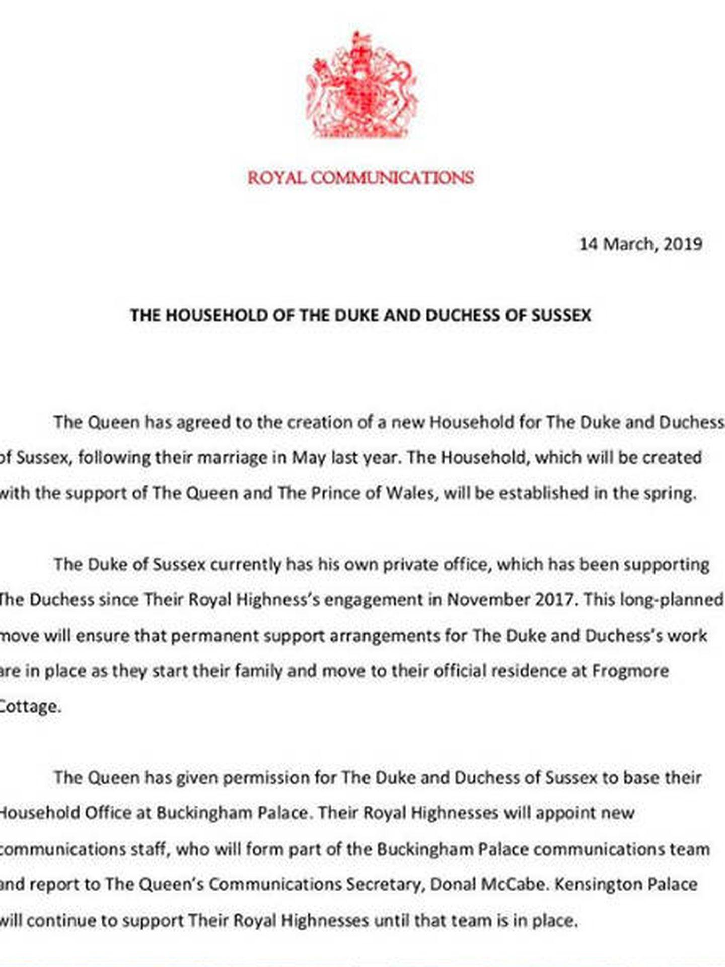 Comunicado emitido por Buckingham Palace.