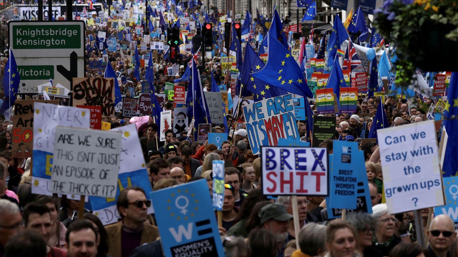 Foto: Una imagen de la multitudinaria marcha en Londres. (Reuters)