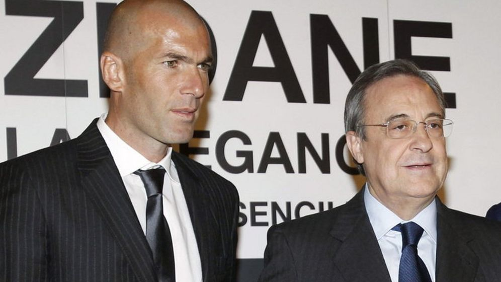 Foto: Zidane, técnico del Castilla, junto a Florentino Pérez.