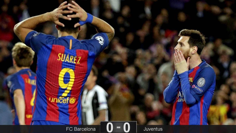 Foto: Messi y Suárez se lamentan. (Reuters)